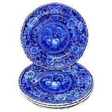 Four Staffordshire Blue Transferware Plates ~ Fruit Cherries Peaches 1825