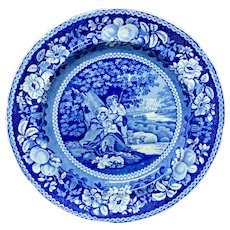 Early Staffordshire Blue Transferware Plate ~ Sheltered Peasants 1825