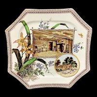 WORLD Brown Transferware Plate ~ 1884 ~ SHAKESPEARE & Hathaway