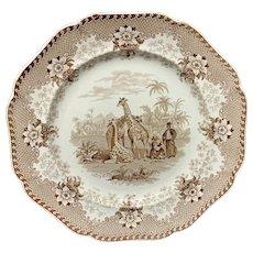 Brown Staffordshire Plate ~ Ridgway GIRAFFE 1836