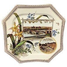 The WORLD Brown Transferware Plate ~ RHINE DRESDEN 1884