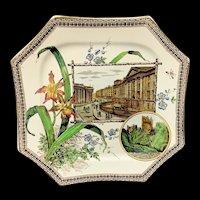 Aesthetic Brown Transferware Plate ~ Blarney Castle 1884