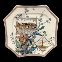 The WORLD Brown Transferware Plate ~ BERLIN and QUEBEC 1884