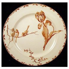 Superb Brown Transferware Plate ~ TULIPS 1880