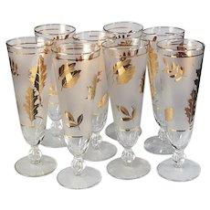 Vintage Gold Leaf Pilsners Libbey Frosted Glasses Set of 8 retro Tall Bar Glasses