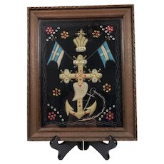 Antique Embroidery Framed Anchor & Cross Naval Commemorative Greek Royal Hellenic Navy