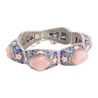 Superb ornate vintage sterling silver coral and enamel bracelet China