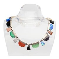 Fabulous heavy colorful gemstones sterling silver traditional necklace Taxco