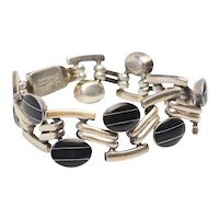 Funky Taxco modernist vintage sterling silver inlaid onyx bracelet