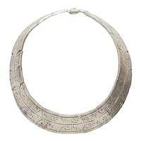 Fantastic heavy tribal traditional vintage sterling silver necklace Taxco Mexico