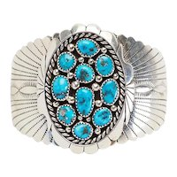 Superb vintage wide sterling silver and turquoise cuff bracelet by Kenneth Jones