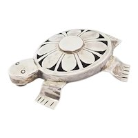 Native American sterling silver turtle tortoise pin or pendant by Bennie Ration