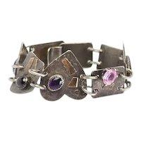 Whimsical OOAK vintage handmade sterling silver gemstones heart link bracelet