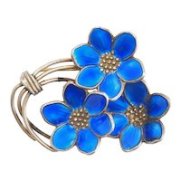 Bernard Meldahl Norway blue enamel sterling silver vintage flower pin brooch