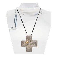 Designer Aniello unique sterling silver 14k landscape cross pendant necklace