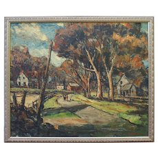 Original impressionist country landscape oil painting NY by Walter Krust