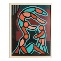 Acrobats two original abstract vintage paintings by L. Williamson
