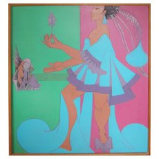 Woman with flower surreal colorful vintage oil painting by Julio da Cunha