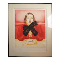 Smoking woman hand signed lighograph print by Russian American artist Shimon Okshteyn