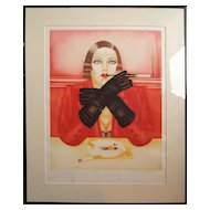 Smoking woman hand signed lighograph print by Russian American artist Shimon Okshteyn