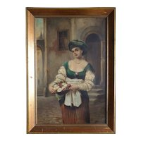 Beautiful woman flower girl antique 1882 painting by Joseph Haier