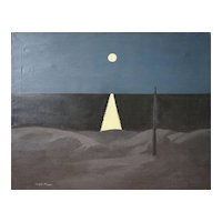 The Moon surreal abstract vintage oil painting by Ralph Mayer