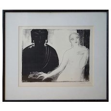 East West Nude woman w Buddha statue  hand signed 1920s print by Janos Vaszary Hungary