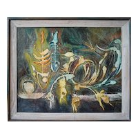 Fish bird skeletons bones abstract modern painting by  James R. Congell