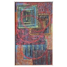 Colorful geometry abstract vintage painting by Luis Begazo Peru