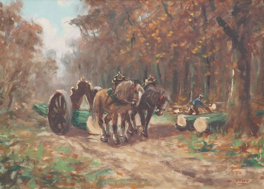 Lumberjack logging by horse carriage vintage oil painting by Marc : ArtNotch | Ruby Lane