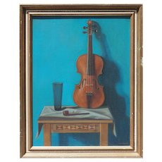 Still life with violin pipe and glass vintage oil painting by Istvan Macsai Hungary