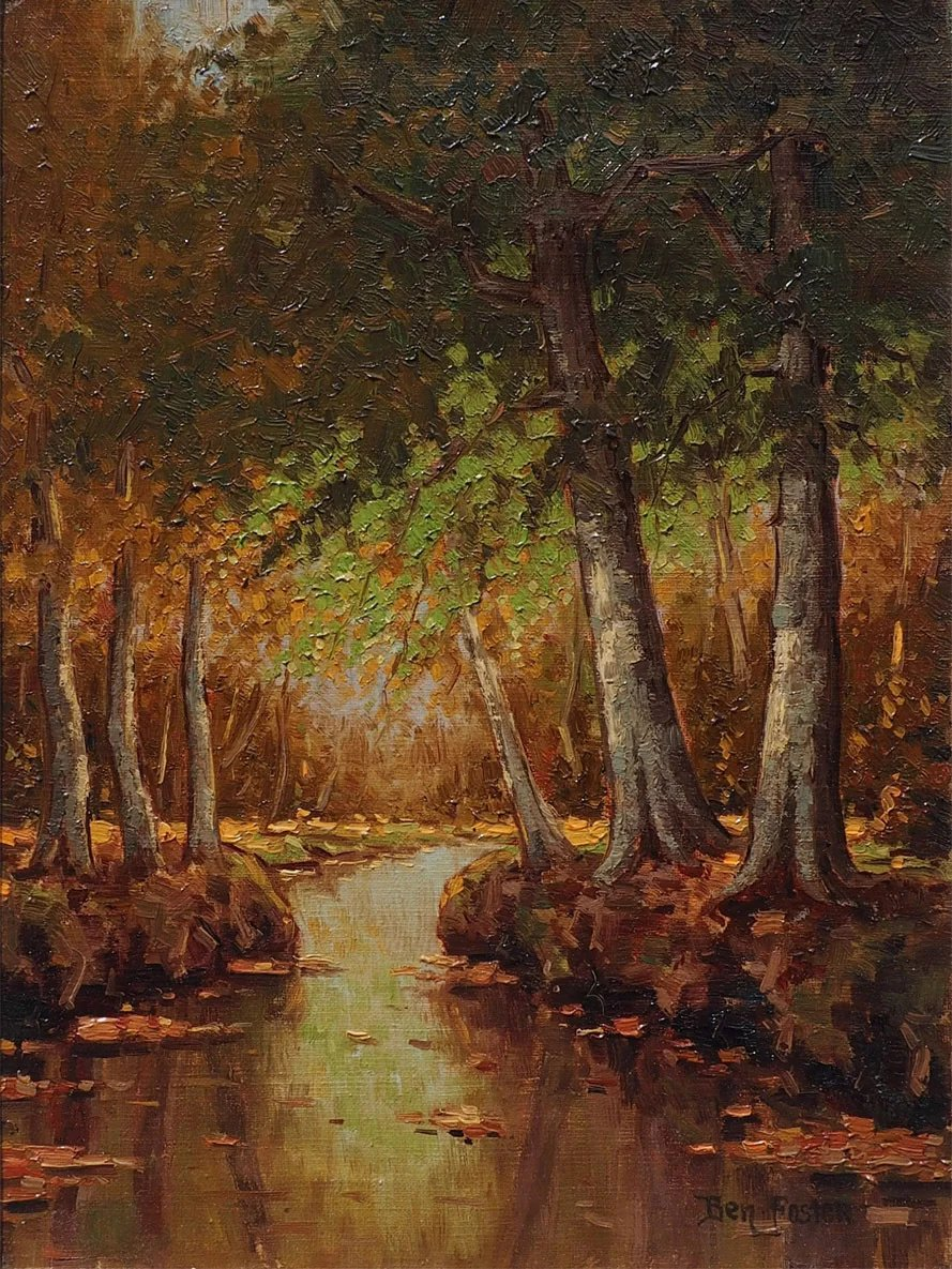 Forest Stream Landscape Original Antique Oil Painting By