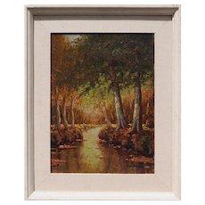 Forest stream landscape original antique oil painting by Benjamin Ben Foster