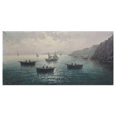 Original 1920s seascape oil painting by Vittorio d'Auria Italy