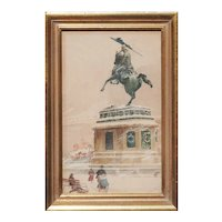 Heldenplatz in snow Vienna Archduke Charles statue antique watercolor painting by Emil Czech Austria