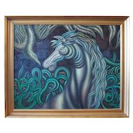 Horse and bird original surreal mythical painting by Henry Bermudez Venezuela