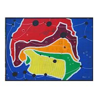 Modern organic outsider art abstract colorful oil painting by Lois Foley Vermont