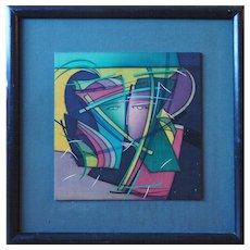 Vintage batik abstract painting textile art by Arnis Pumpurs Latvia