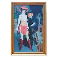 Nude woman w friend on balcony original oil painting by Mark Furman Israel