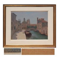 Venice Italy canal view boats vintage oil painting by Elias Rivera