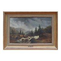 Mountain landscape antique oil painting by Dutch artist Remi van Haanen / Remigius Haaanen