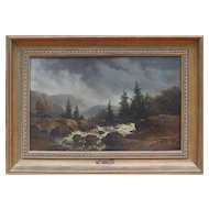 Mountain landscape antique oil painting by Dutch artist Remi van Haanen / Remigius Haaanen