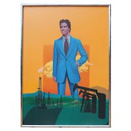 Handsome man tycoon over oil fields surreal vintage painting by Wilson McLean