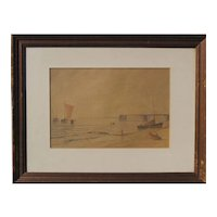 Fishing sail boats on beach 1940s watercolor painting by Hans Meinke