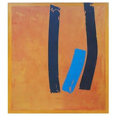 Large modernist abstract vintage painting by John Lennard Canada