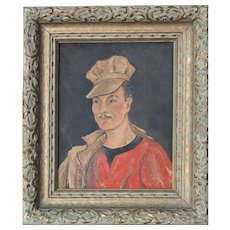 Dapper man in hat unusual vintage oil painting by M. Chiron