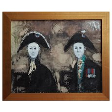Soldiers in uniform strange outsider modern vintage painting Paul Lucien Dessau