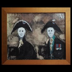 Soldiers in uniform strange outsider modern vintage painting Paul Lucien Dessau