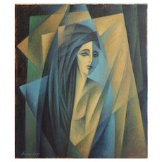 Pensive nude woman abstract cubist vintage oil painting by Wiesner