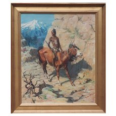 Indian Native American warrior on horse antique painting by Charles Abel Corwin